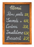 Italiaans restaurantmenu chalkb stock fotografie