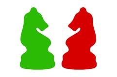 Italiaans schaak, twee geïsoleerde ridders Royalty-vrije Stock Foto's