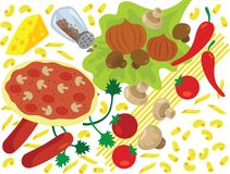 Italiaans Voedsel en Ingrediënten Vectorillustratie Stock Foto
