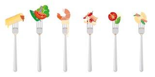 Italiaans voedsel op vork vectorillustratie royalty-vrije illustratie