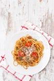 Italiaans voedsel - spaghetti bolognese, hoogste mening royalty-vrije stock fotografie