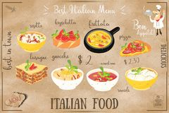 Italiaans voedselmenu vector illustratie