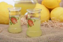 Italiaanse alcoholische dranklimoncello eigengemaakt met citroen royalty-vrije stock foto's