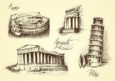 Italiaanse architecturale symbolen Royalty-vrije Stock Fotografie