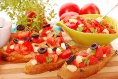 Italiaanse bruschetta stock afbeeldingen