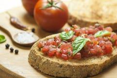 Italiaanse bruschetta dichte omhooggaand Stock Foto
