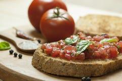 Italiaanse bruschetta dichte omhooggaand Stock Foto's