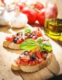 Italiaanse Bruschetta met tomaten Royalty-vrije Stock Foto