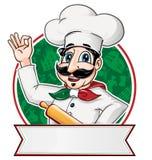 Italiaanse Chef-kok binnen een cirkel vector illustratie