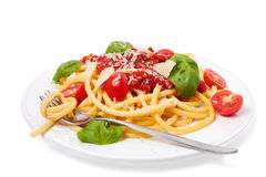 Italiaanse deegwaren met tomatensaus Royalty-vrije Stock Afbeeldingen