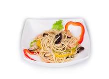 Italiaanse deegwaren met zeevruchten Stock Foto