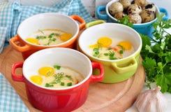 Italiaanse die stijl, Eieren met mozarella en groene ui worden gebakken, Stock Foto