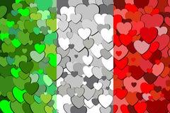 Italiaanse die vlag van hartenachtergrond wordt gemaakt Royalty-vrije Stock Fotografie