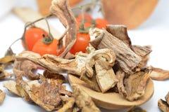 Italiaanse droge porcinipaddestoelen en tomaat Stock Afbeelding