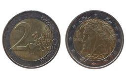 Italiaanse Euro met het portret van Dante  Stock Foto