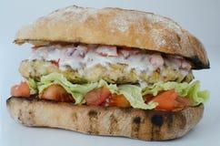 Italiaanse geïsoleerde kippenhamburger Royalty-vrije Stock Fotografie