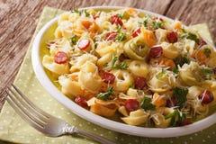 Italiaanse gekleurde tortellini met parmezaanse kaas en gesneden worsten CLO Stock Fotografie