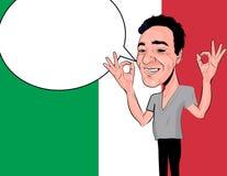 Italiaanse gelukkige mens op Italiaanse vlag backgraund met o.k. finge vector illustratie