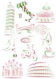 Italiaanse gezichten en symbolen Royalty-vrije Stock Afbeelding