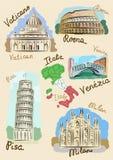 Italiaanse gezichten in watercolours Stock Fotografie