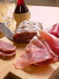 Italiaanse ham en wijn Royalty-vrije Stock Foto's