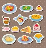 Italiaanse het voedselstickers van het beeldverhaal Stock Foto