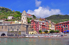 Italiaanse huizen, Cinque Terre Stock Foto's