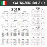 Italiaanse Kalender voor 2018, 2019 en 2020 Planner, agenda of agendamalplaatje Het begin van de week op Maandag Stock Afbeeldingen