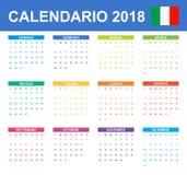 Italiaanse Kalender voor 2018 Planner, agenda of agendamalplaatje Het begin van de week op Maandag Stock Afbeelding