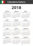 Italiaanse Kalender voor 2018 Planner, agenda of agendamalplaatje Het begin van de week op Maandag Royalty-vrije Stock Fotografie