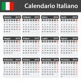 Italiaanse Kalender voor 2018 Planner, agenda of agendamalplaatje Het begin van de week op Maandag Royalty-vrije Stock Afbeelding