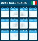 Italiaanse Kalender voor 2018 Planner, agenda of agendamalplaatje Het begin van de week op Maandag Royalty-vrije Stock Foto's