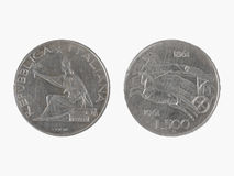 500 Italiaanse Lires - zilveren muntstuk Stock Foto's