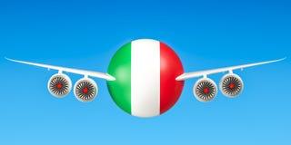 Italiaanse luchtvaartlijnen en flying& x27; s, vluchten aan het concept van Italië 3d trek uit Royalty-vrije Stock Afbeelding