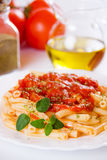 Italiaanse macaronideegwaren met tomatensaus Royalty-vrije Stock Foto's