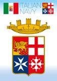 Italiaanse marinevlag, hefboom en wapenschild Stock Afbeelding