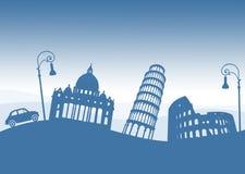 Italiaanse monumenten, Italië Oude auto en straatlantaarns stock illustratie