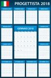 Italiaanse Ontwerpersspatie voor 2018 Planner, agenda of agendamalplaatje Het begin van de week op Maandag Stock Foto