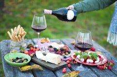 Italiaanse picknick met rode wijn, parmezaanse kaas, ham en olijven Lunch in openlucht Traditionele snacks Een mens giet een glas stock foto's