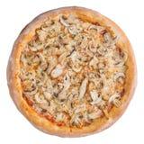 Italiaanse pizza, hoogste die mening, op witte geïsoleerde achtergrond wordt geïsoleerd Royalty-vrije Stock Foto's