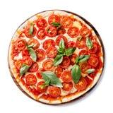 Italiaanse pizza met kersentomaten Royalty-vrije Stock Foto