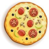 Italiaanse pizza met tomaat, worst en paddestoelen Royalty-vrije Stock Foto's