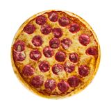 Italiaanse pizza met zout, kaas en kruiden op witte geïsoleerde achtergrond royalty-vrije stock afbeeldingen