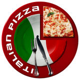 Italiaanse Pizza - Plaat en Bestek Stock Foto's