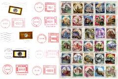 Italiaanse poststempels, etiketten, postzegels Stock Fotografie