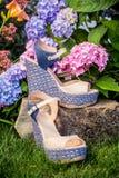 Italiaanse schoenen, elegante sandals in de tuin stock afbeelding
