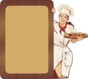 Italiaanse serveerster en pizzamenu Royalty-vrije Stock Afbeelding