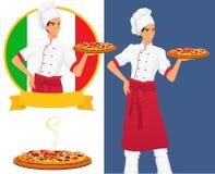 Italiaanse smakelijke pizza en mensenchef-kok Royalty-vrije Stock Afbeelding