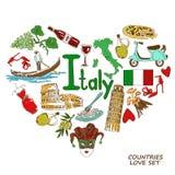 Italiaanse symbolen in het concept van de hartvorm Stock Fotografie