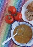 Italiaanse vegetarische linzesoep Stock Foto's